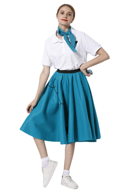 Sinastar Women's 1950s Vintage A Line Poodle Swing Skirt Gauze Kerchief Glasses Socks 4 Pieces (Small, Blue)