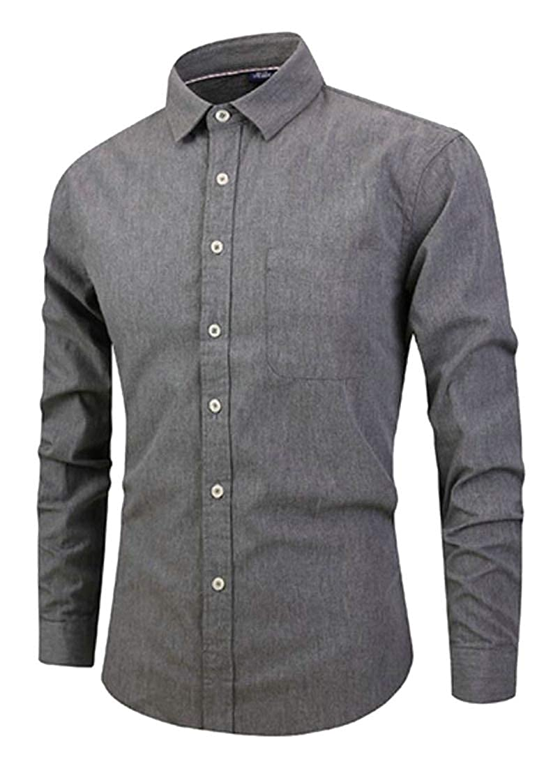 Etecredpow Men Long Sleeve Casual Turn Down Slim Fit Cotton Solid Color Button Down Shirts