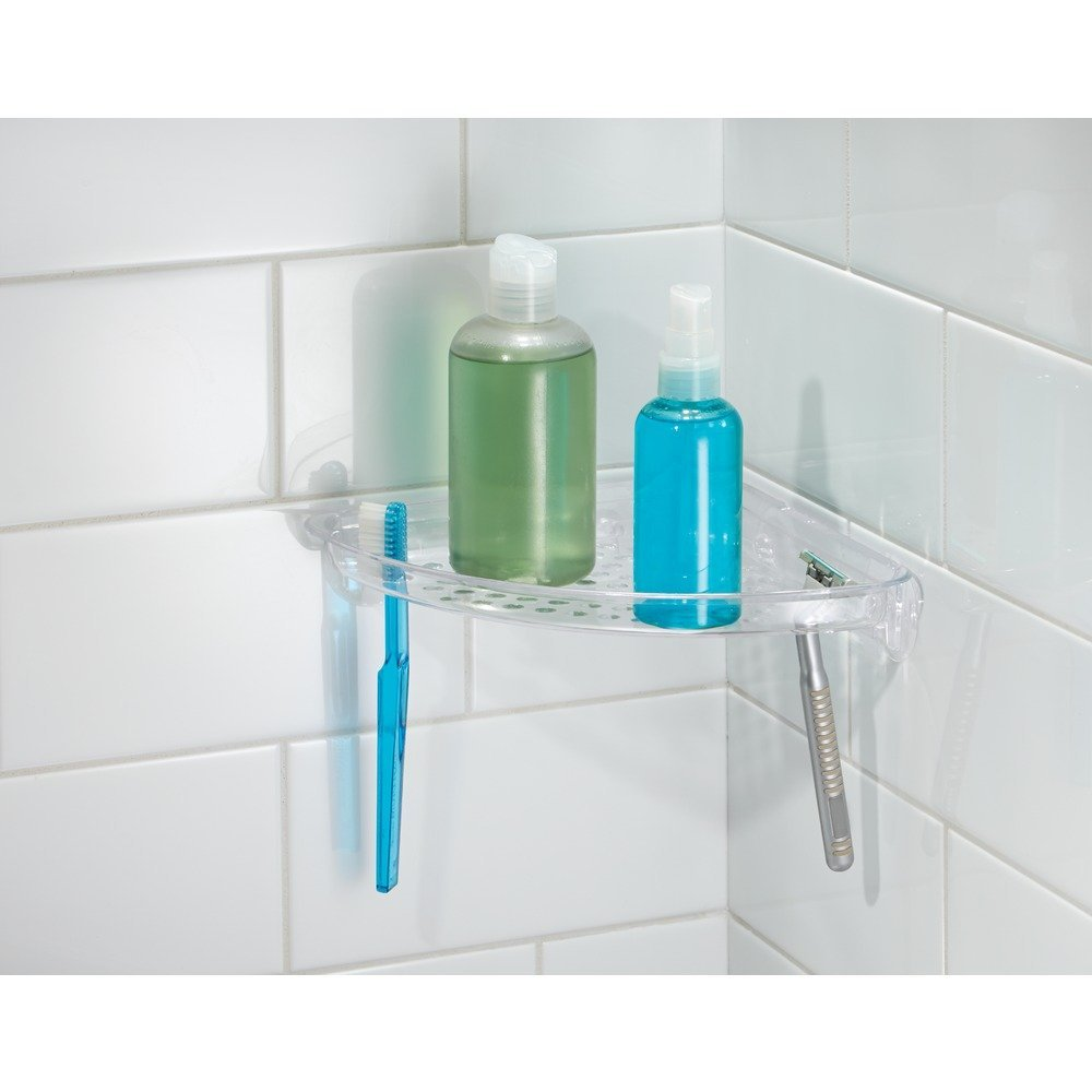 InterDesign Suction Bathroom Shower Caddy Corner Shelf for Shampoo, Conditioner, Soap - Clear