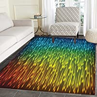 Colorful Anti-Skid Area Rug Galaxy Universe Outer Space Inspired Technical Neon Rain Modern Abstract Art Print Door Mat Increase 4x5 Multicolor