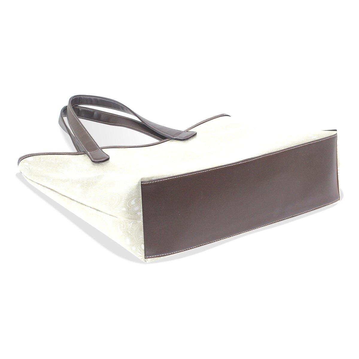 Beige Classic Lines PU Leather Handbag Tote Bag Shoulder Bag Shopping Bag For Lady