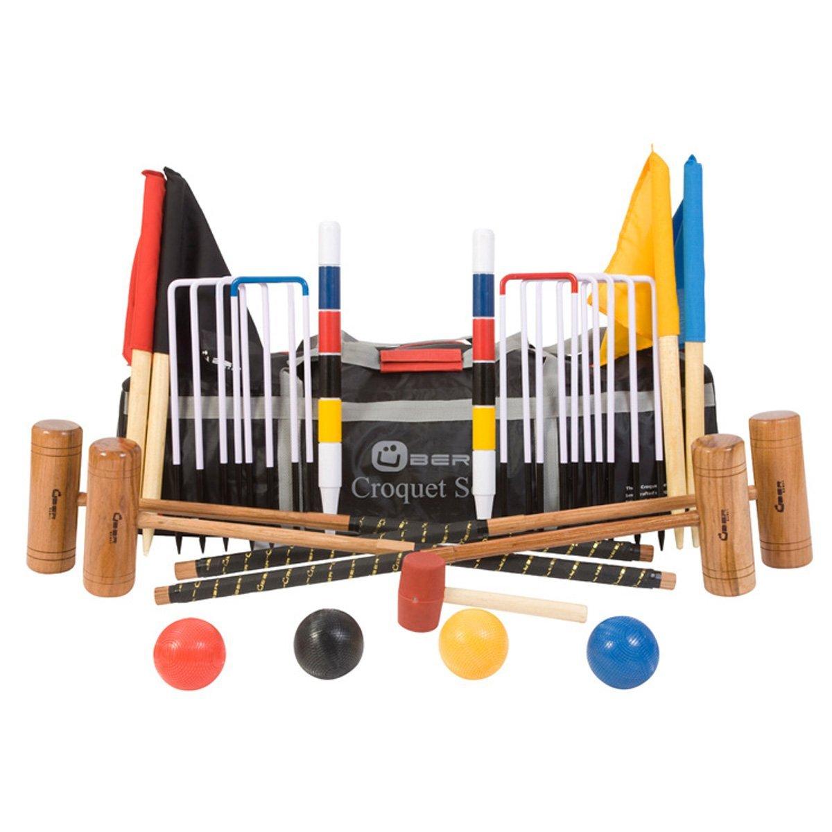 Übergames Extrem hochwertiges Pro Croquet / Krocket Set für Fortgeschrittene, aus ECO Hartholz Krocket Set - 4 Pers. mit Tasche