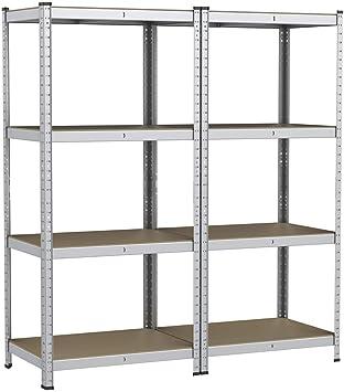 yaheetech lot de 2 etageres de rangement charge lourde meuble de garage ratelier cuisine salon 80 40 160 cm acier galvanise mdf capacite de chaque