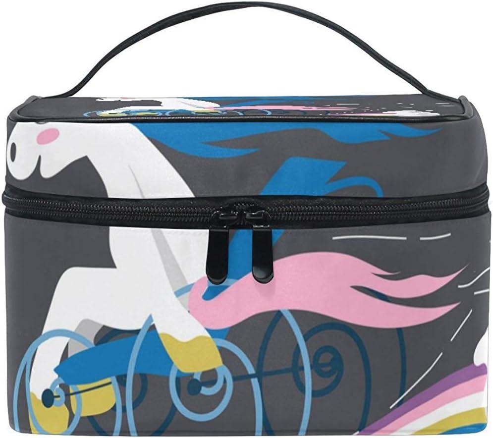Funda de Maquillaje para Silla de Ruedas Unicornio de Dibujos Animados Bolsa de cosméticos, Capacidad y Bolsas de Maquillaje Ajustables Bolsa de Aseo Impermeable