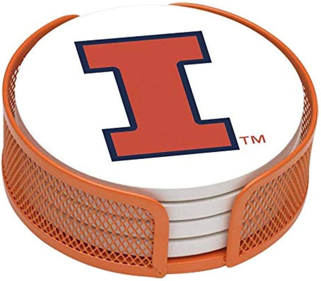 Thirstystone VUIL-HA25 Stoneware Drink Coaster Set with Holder, University of Illinois,Multicolor,Small