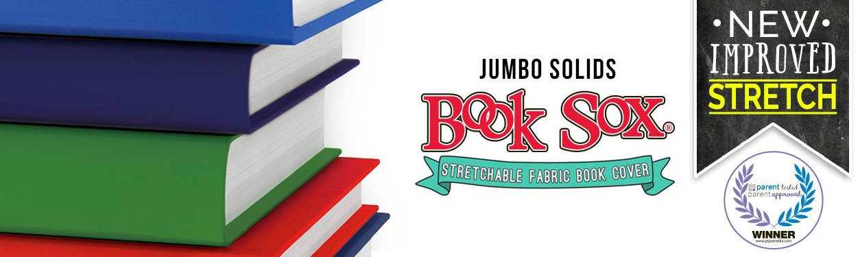 Book Sox Stretchable Book Cover: Jumbo 6 Color Value Pack. Fits Most Hardcover Textbooks up to 9'' x 11''. Adhesive-Free, Nylon Fabric School Book Protector. Easy to Put On. Washable & Reusable Jacket.