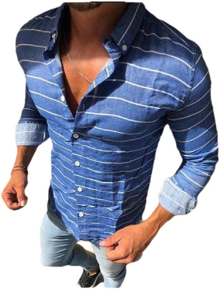 Coolred-Men Stripes Loose Button Western Shirt Long Sleeve Shirt Blouse Tops