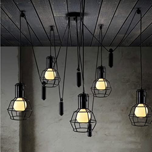 Aiwen Rise And Fall Pulley Rustic Chandeliers(Not Include Light Source)5 Lamp Holders