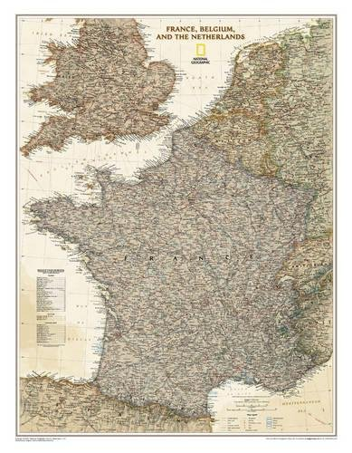 France, Belgium, and The Netherlands Executive Wall Map - Laminated (23 x 30 inches) (National Geographic Reference Map) ()
