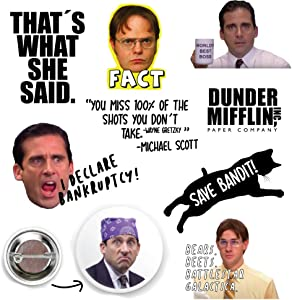 The Office Stickers Pack of 8 + 1 Round Button 1.25 inches Diameter, Cute Stickers, Stickers for Water Bottles, Laptop Stickers, Hydro Flask Stickers, Hydro Flask Accessories