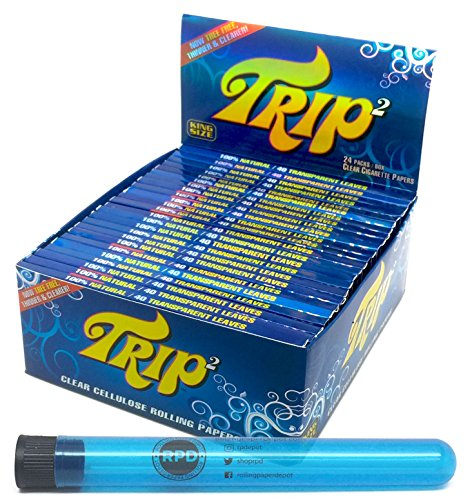 Trip 2 Cellulose Clear Rolling Papers King Size (24 Packs/Full Box) with Rolling Paper Depot XL Doob Tube (Best Clear Rolling Papers)