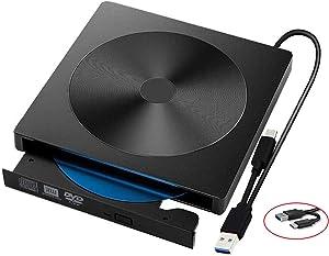 Cisasily External CD DVD Drive Player USB C USB 3.0 Type C RAM Burner/Writer/Reader Drive Portable High Speed CD/DVD Read/Write Compatible with Windows/Mac OS for Laptop Desktop MacBook Air iMac