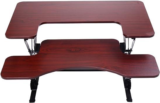 Brown Adjustable Height Stand Up Desk Computer Workstation Lift Rising Laptop