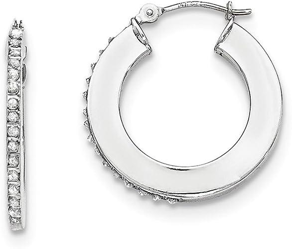 Mia Diamonds 14k WG Twist Polished Hoop Earring