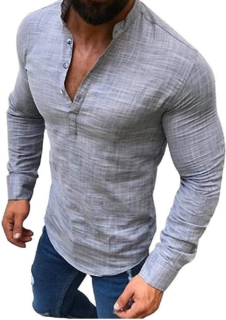 Sayhi Mens Casual Cotton Linen Long Sleeve Slim Fit Button Front Shirts