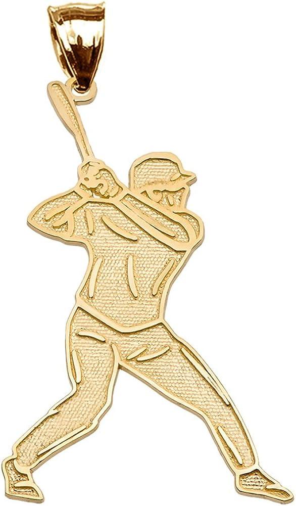 Fine 10k Yellow Gold Baseball Player Sports Pendant Necklace