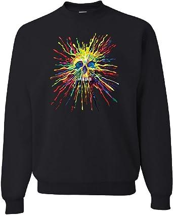 Paint Splatter Skull Hoodie Multicolor Art Crazy Melting Drip Sweatshirt