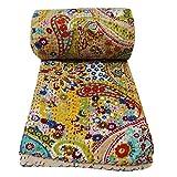 Indian Paisley Print King Size Kantha Quilt , Kantha Blanket, Bed Cover, King Kantha Bedspread, Bohemian Bedding Kantha Size 90 Inch X 108 Inch