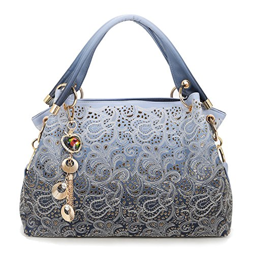 Sequins Leather Ladies Greeniris Women Shoulder Faux Blue Bags Handbags Bags for Totes frIgwarqA