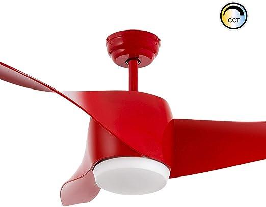 LEDKIA LIGHTING Ventilador de Techo LED Hellice Rojo CCT ...