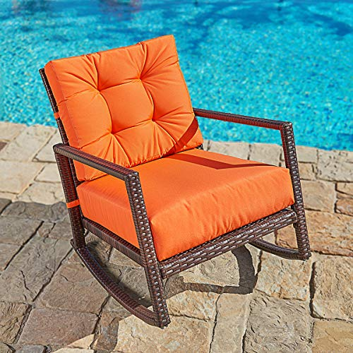 SUNCROWN Outdoor Furniture Patio Rocking Chair, All-Weather Wicker Seat with Thick, Washable Cushions, Vibrant Orange
