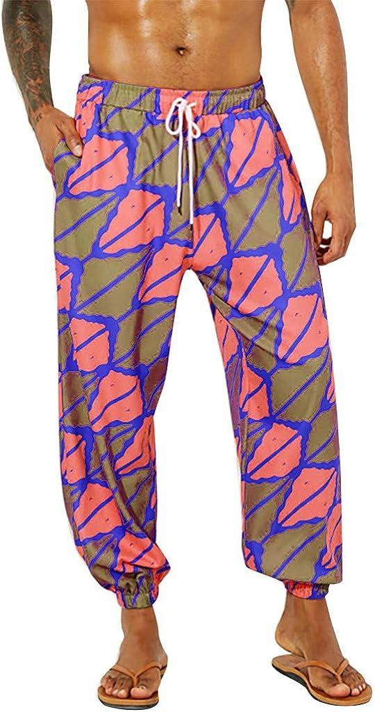 Alueeu Mens Hippie Harem Pants Casual Fashion Trousers Men Harem Slacks Casual Jogger Sportwear Baggy Comfy Pant