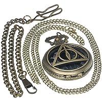 Roman Numerals Harry Potter Deathly Hallows Lord Voldemort Bronze Pocket Watch Brass Antique Caseh 1 PC Necklace 1 PC Key Clip Quartz Pendant Watch Fob Nurse Watch