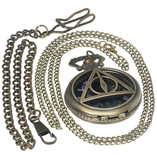Roman Numerals Harry Potter Deathly Hallows Lord Voldemort Bronze Pocket Watch Brass Antique Caseh 1 PC Necklace 1 PC Key Clip Quartz Pendant Watch Fob Nurse Watch