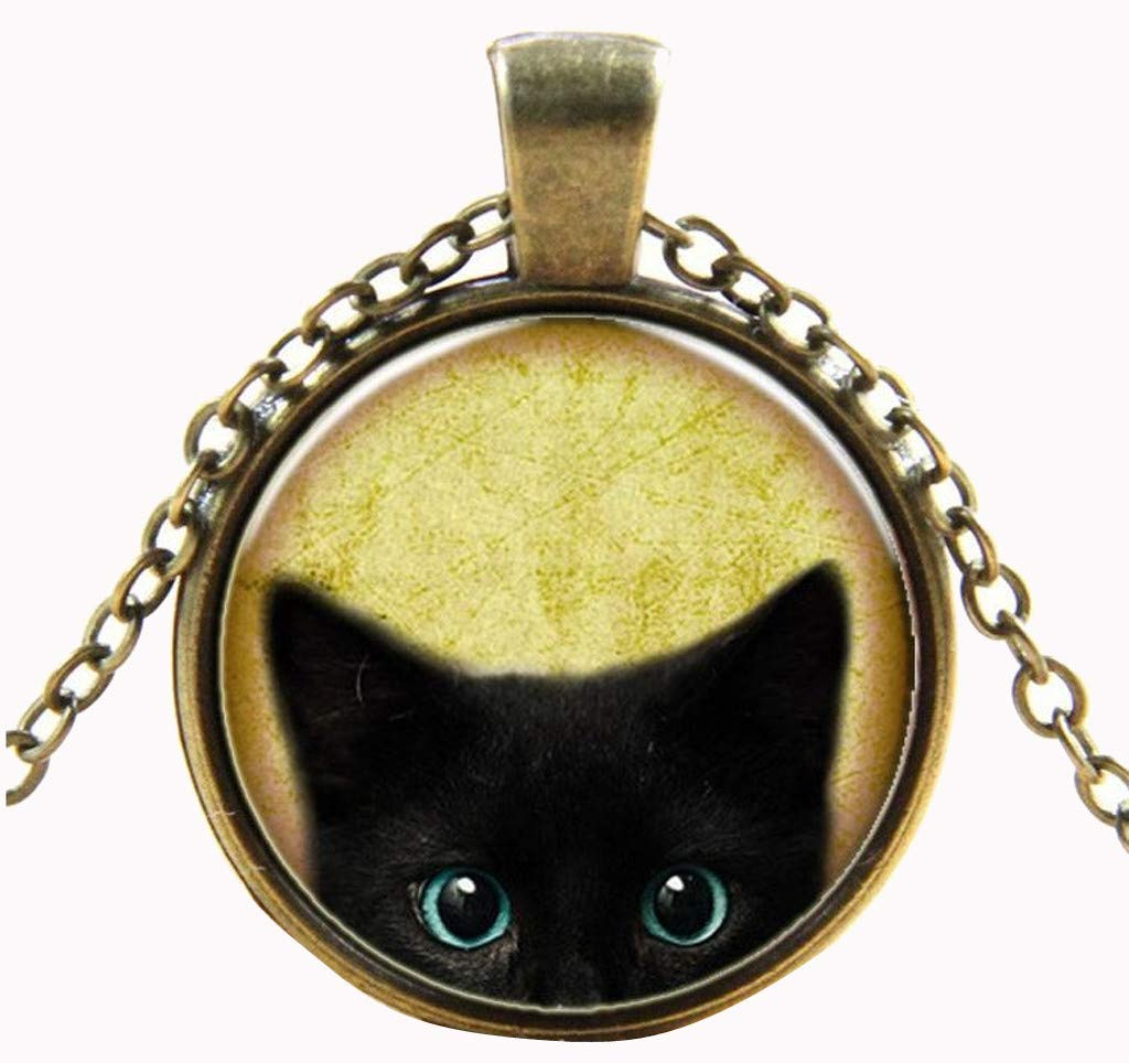 Jhualeek Steampunk Mystery Cat Retro Cabochon Glass Pendant Chain Necklace