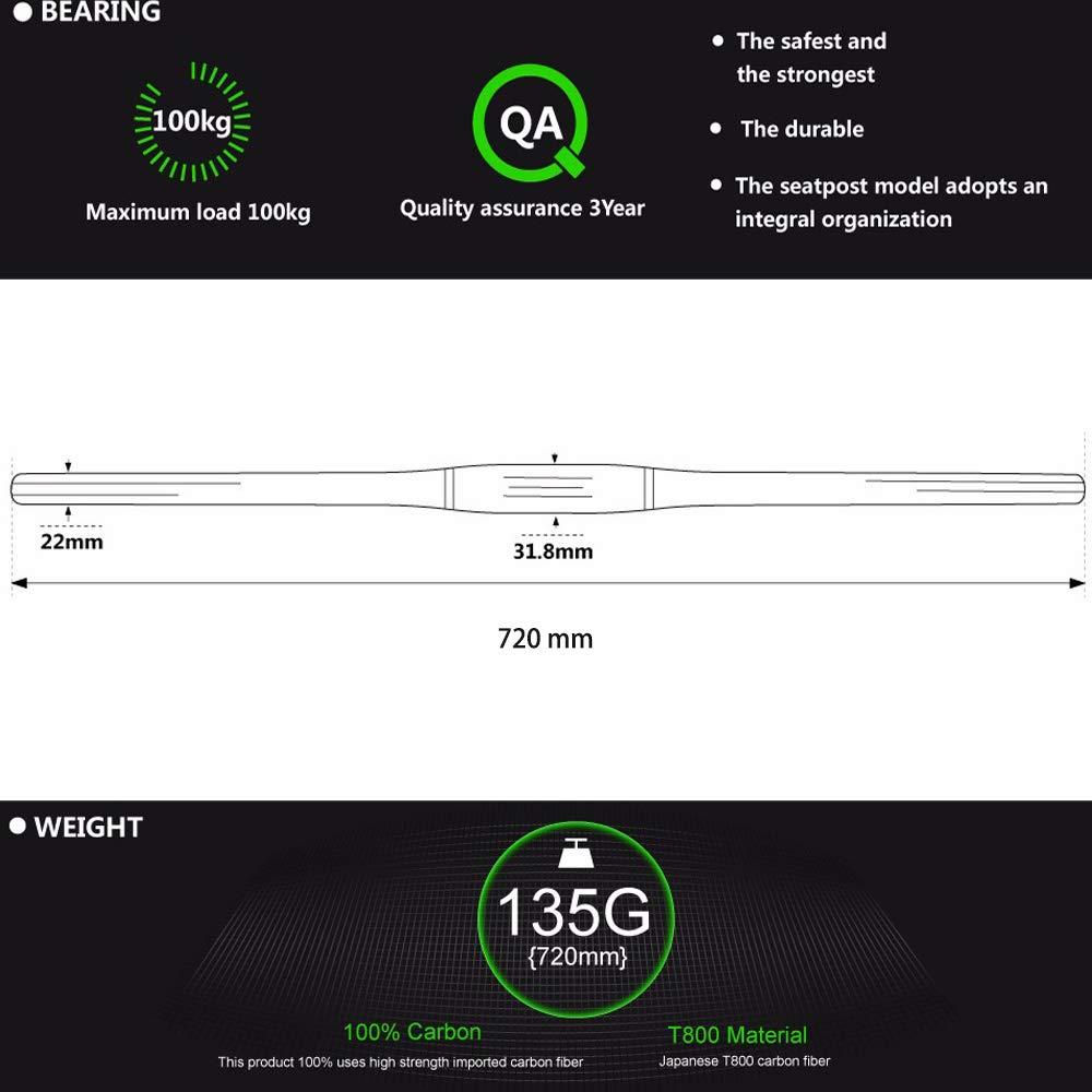 1DFAUL 31.8mm VTT VTT Guidon Lightweight T800 Haute r/ésistance en Fibre de Carbone Pleine Barre Plate 720mm Extra Long v/élo Guidons pour la Descente Hors Route 3K Gloss
