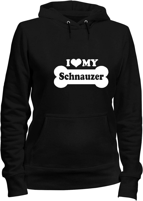 T-Shirtshock Felpa Donna Cappuccio Nero FUN2043 i Love My Schnauzer