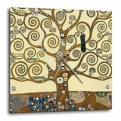 3dRose dpp_155632_3 The Tree of Life 1909 by Gustav Klimt Stylish Swirling Branches Brown Fine Art Deco Swirls Wall Clock, 15 by 15-Inch