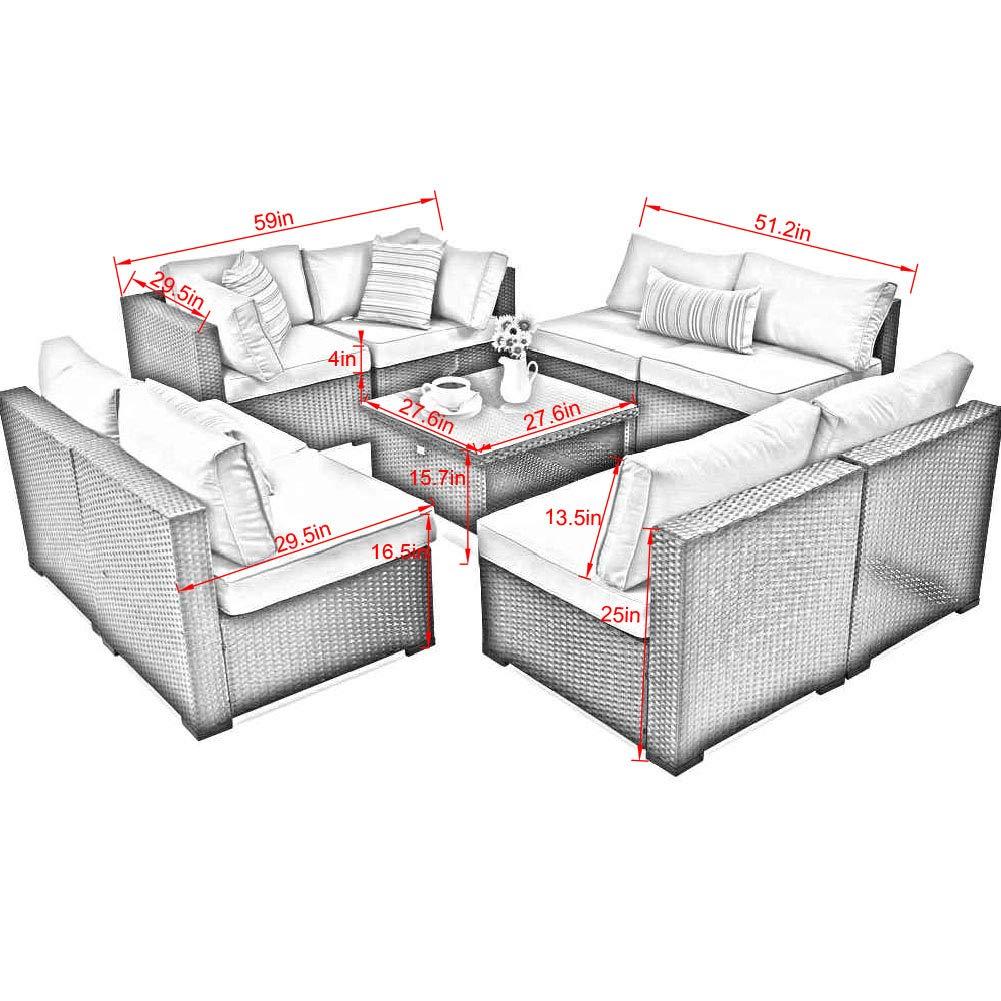 Amazon.com: Juego de muebles de asiento acolchados de mimbre ...