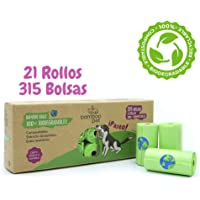 Bamboo Pet. Bolsas para Popo de Perro, Biodegradables y Compostables. Paquete de 315 Bolsas Bamboo Bags para Recoger Excremento de Mascotas