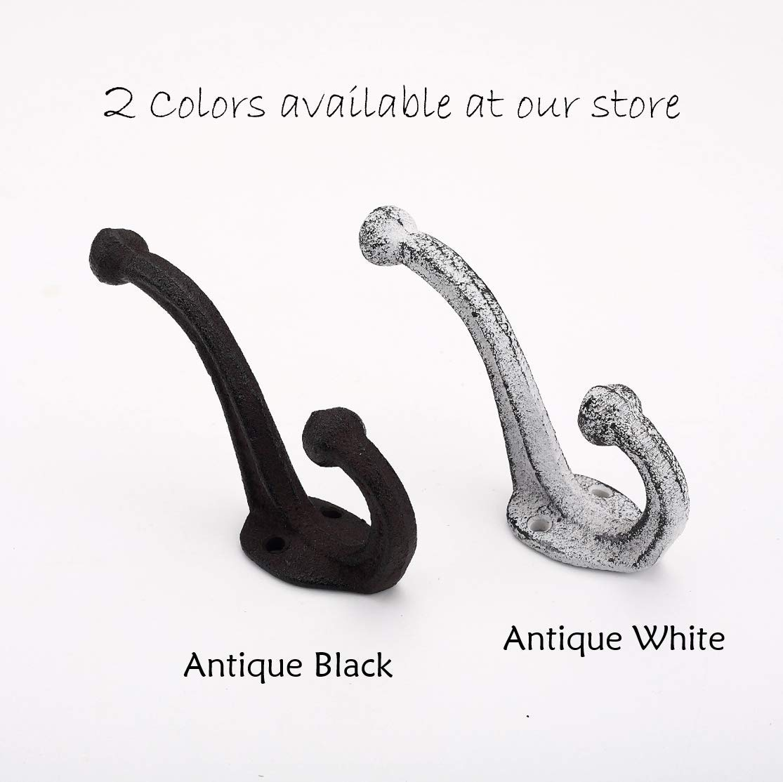 Wall Mounted Coat Hooks Bags Antique Black Ambipolar Decorative Rustic Cast Iron Towels Coats Vintage Inspired Modern Farmhouse Set of 5 Hats