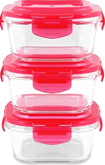 Amazoncom Glass Food Storage Container Set 6 pcs 3 container