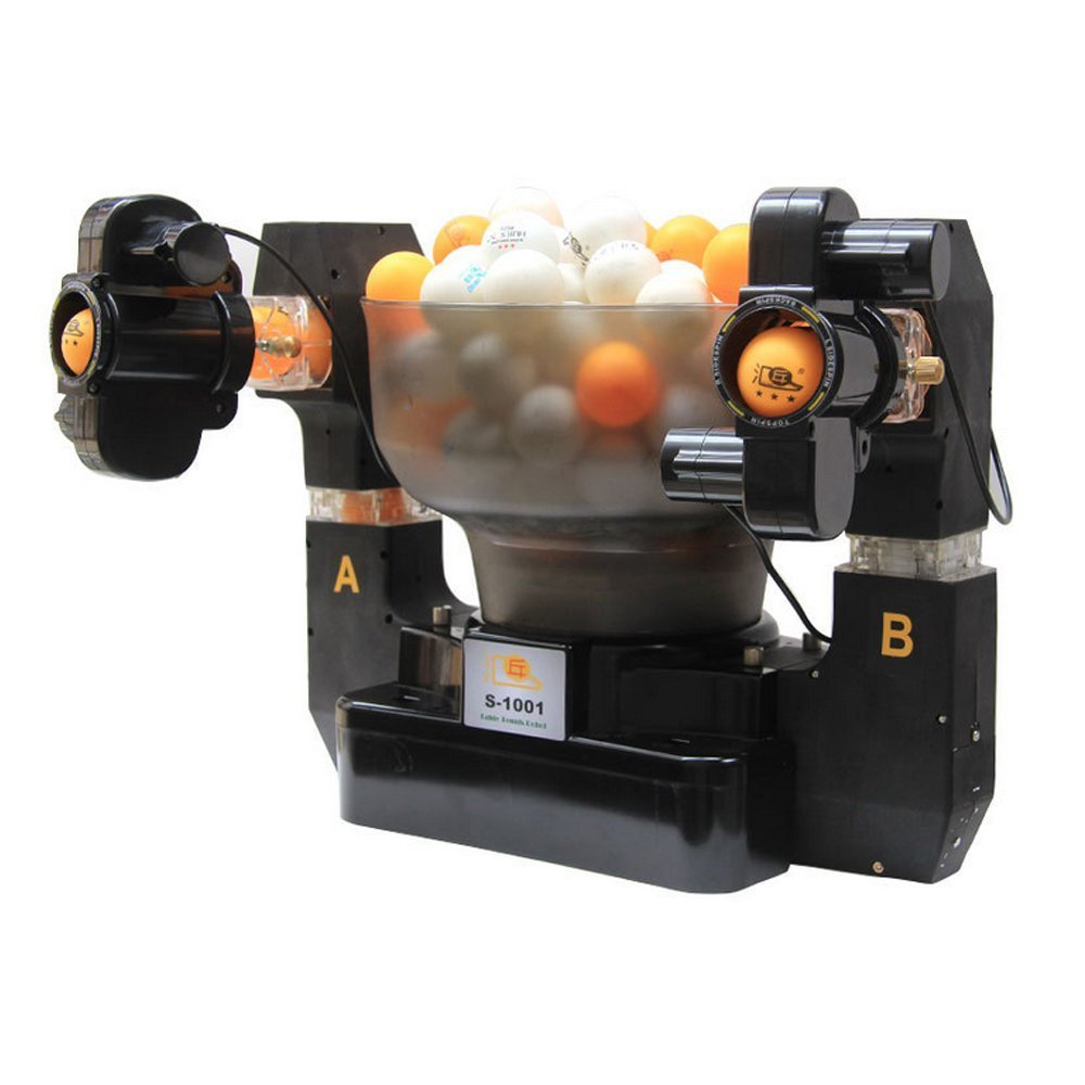 HUI PANG S-1001 Ping Pong Robot, Newly Double-End Machine Spinning Balls, Intelligent Design , Serves Table Tennis for Training , Accurately and Automatically by Keeone