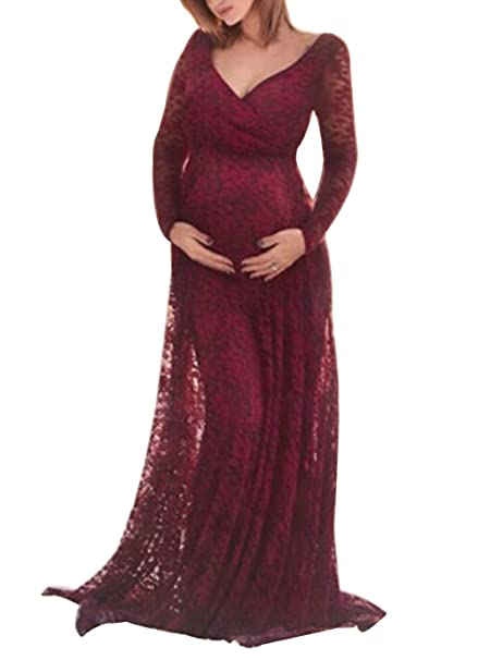 b21f5aca7246 EGELEXY Pregnant Women Sexy Max Lace Dress Maternity Photography Fancy Props  Maxi Dress: Amazon.co.uk: Clothing
