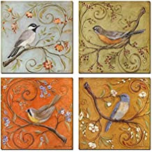 Sea Charm- Gallery Wrapped Canvas Wall Art Set of 4,birds on Tree Branch with Blooms Painting Print on Canvas,animal Canvas Art for Home Decor