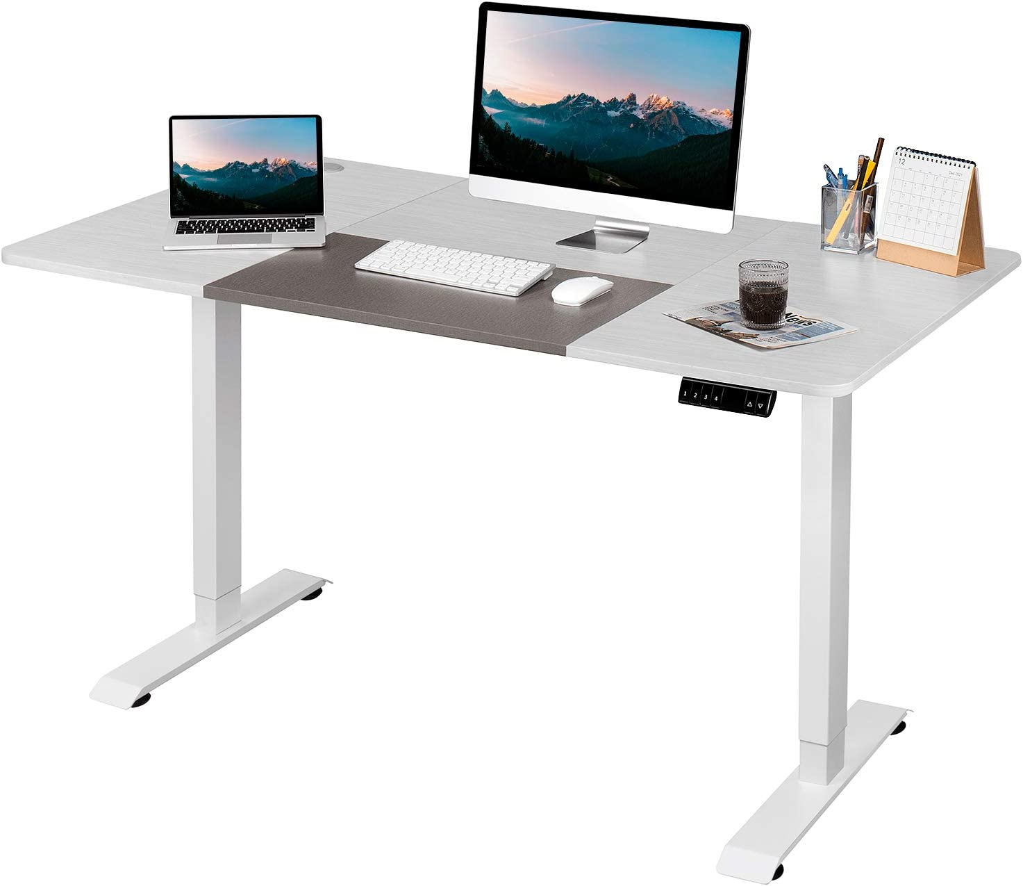 Pawnova Electric Height Adjustable Computer, 55-Inch Home Office Standing Desk for Healthy Working, White