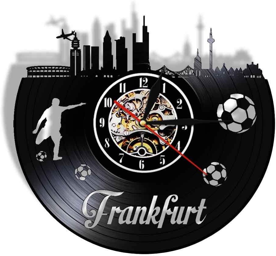 WADCRmgyx Copa Mundial de Fútbol Frankfurt Paisaje Urbano Reloj de Registro de Vinilo Reloj de Pared silencioso Estadio Ventilador Reloj Regalo de Viaje