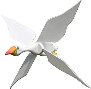globalqi Wind Spinners for Yard and Garden Whirligig Asuka Windmill Decor, Seagulls Pinwheels for Kids, Flying Bird Wind Spinners, Outdoor Wind Sculpture, Wooden Wind Mill for Garden Lawn Backyard