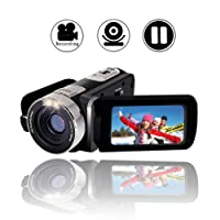 "Camcorder Video Camera Full HD 1080p Digital Camera 24.0MP Webcam 2.7"" LCD Rotatable Screen 16x Digital Zoom Camcorder Camera with Pause Function"