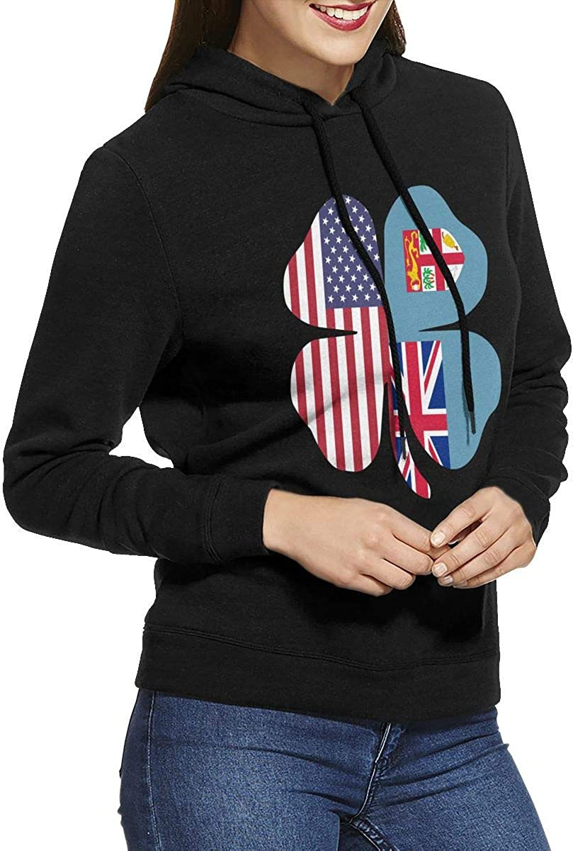 American Fiji Flag Shamrock Pullover Hoodie Ladies Long Sleeve Tops Hooded Sweatshirts