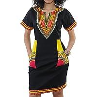Women's Dashiki African Midi Dresses Bohemian Vintage Club Pocket