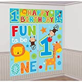 Amscan One Wild Boy 1st Birthday Scene Setters Wall Decorating Kit, 59'' x 65'', Blue/Green
