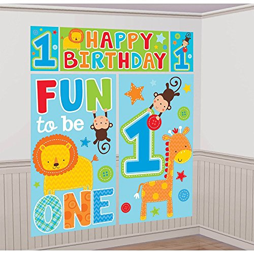 Amscan One Wild Boy 1st Birthday Scene Setters Wall Decorating Kit, 59