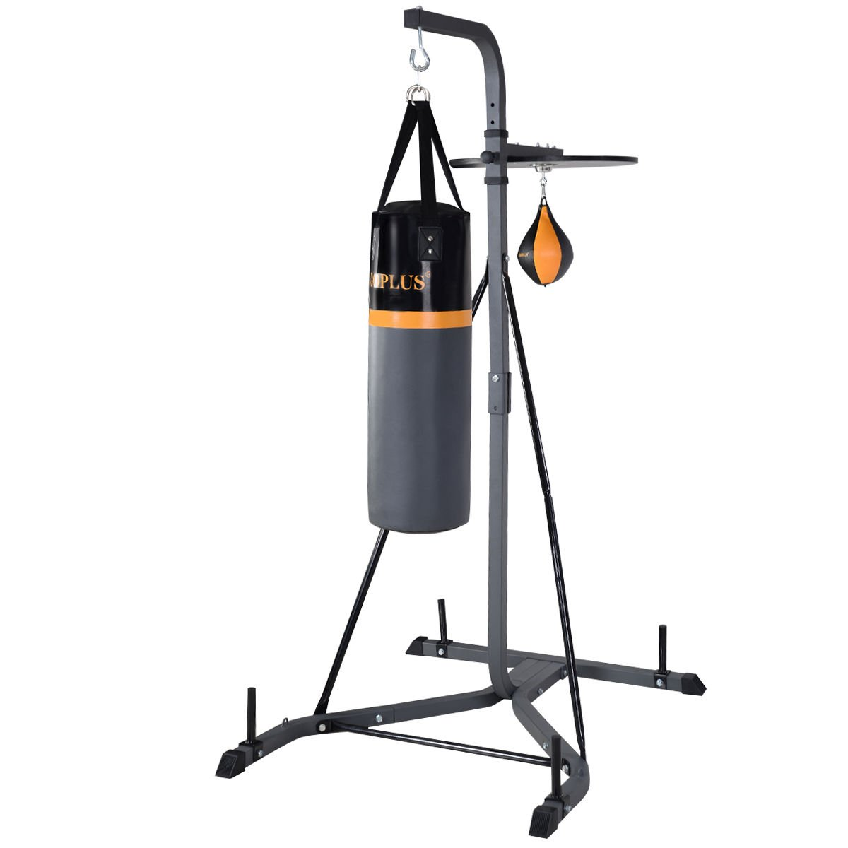 Goplus 2 IN 1 Punching Bag Wall Bracket Steel Mount Hanging Stand Boxing Frame