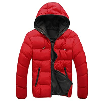 Chaquetas de hombre, Manadlian Hombres Abrigo grueso invierno con capucha Delgado Casual Una chaqueta abrigada Anorak Sobretodo con capucha