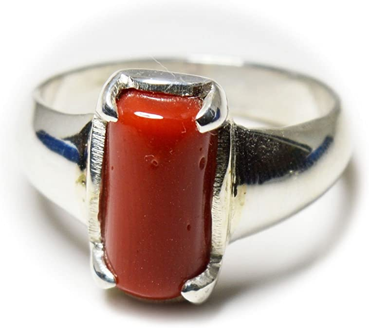 12x16 mm Natural Red Coral Unisex Ring Red Coral Ring Handmade 925 Sterling Silver 5.65 Ct Gift for All.